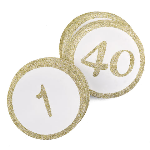 Round Gold Glitter - Table Cards Numbers 1-40