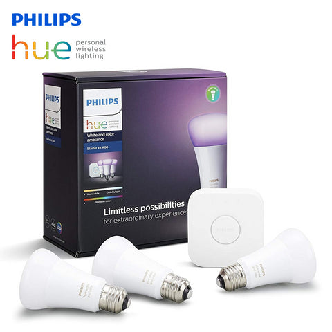 Philips Hue White and Color Wireless Ambiance Starter Kit 10W A60 E27