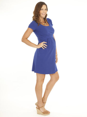 Blue 'Chloe' Cotton Maternity and Breastfeeding Dress - Angel Maternity Europe - 1
