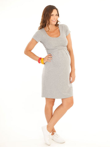 Grey 'Chloe' Cotton Maternity and Breastfeeding Dress - Angel Maternity Europe - 1