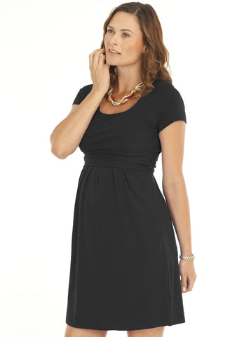 Black 'Chloe' Cotton Maternity and Breastfeeding Dress - Angel Maternity Europe - 1
