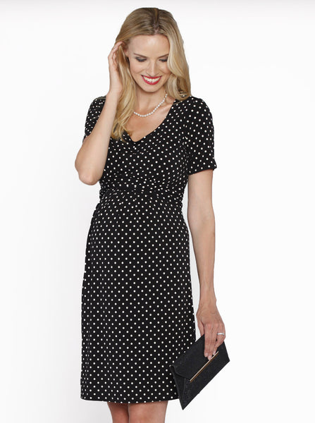 Black 'Chloe' Cotton Maternity and Breastfeeding Dress - Angel Maternity Europe - 5