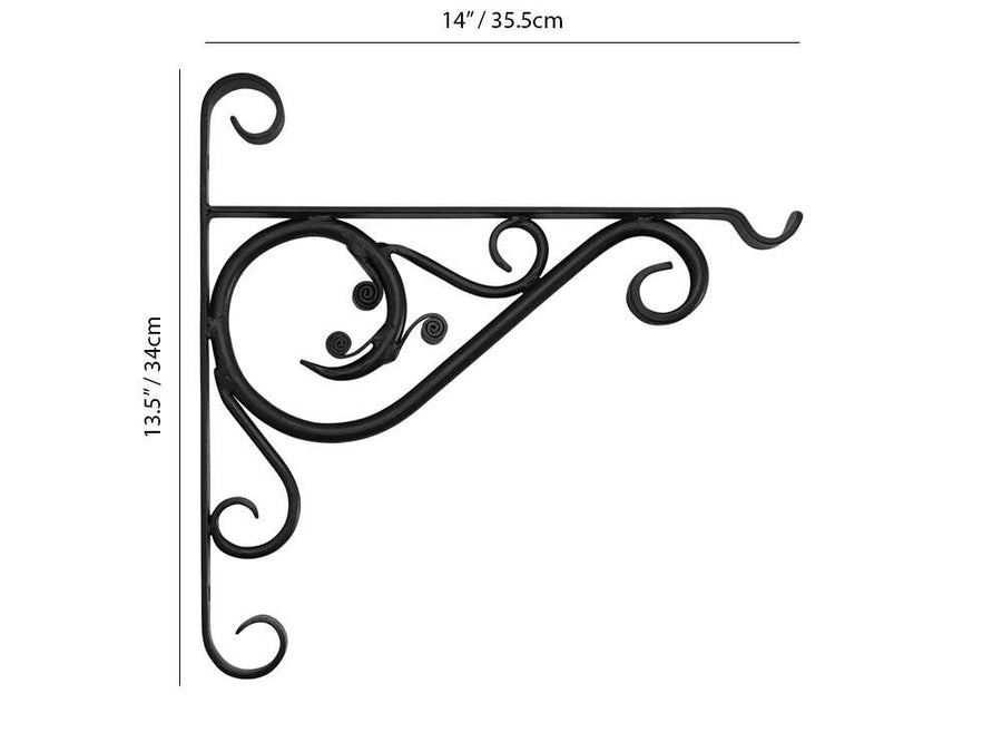 "Forged Hanging Basket Brackets - 14"" Bracket Measurements"
