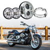 "7"" 80W LED Headlight and 4.5"" Passing Lights With Bracket Combo"