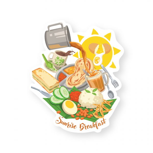 Malaysia Series Die Cut Postcard: Breakfast Time