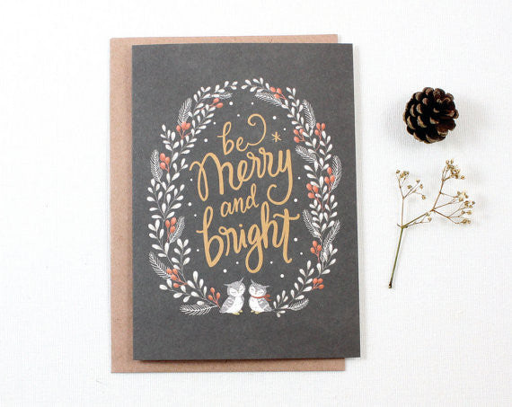 Christmas Greeting Card - Be Merry & Bright