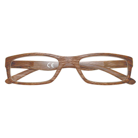 +2.50 Power Slender Brown Walnut Reading Glasses