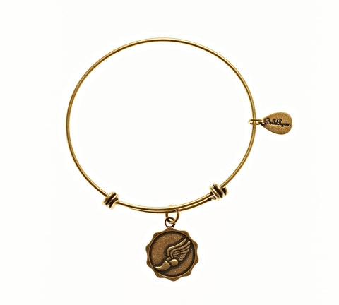 Achilles Runner Shoe Expandable Bangle Charm Bracelet in Gold - BellaRyann