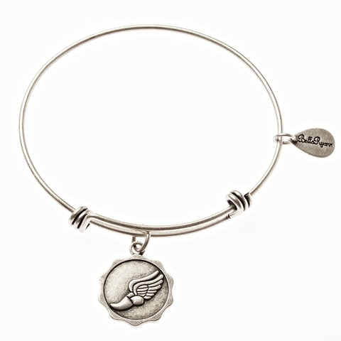 Achilles Runner Shoe Expandable Bangle Charm Bracelet in Silver - BellaRyann