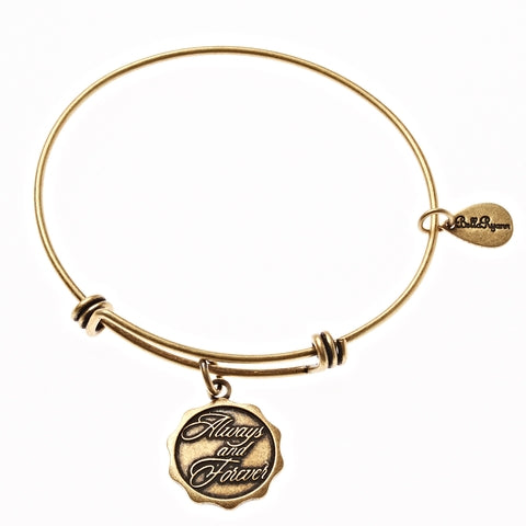 Always and Forever Expandable Bangle Charm Bracelet in Gold - BellaRyann