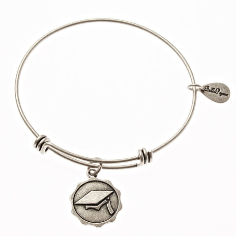 Graduation Cap Expandable Bangle Charm Bracelet in Silver - BellaRyann
