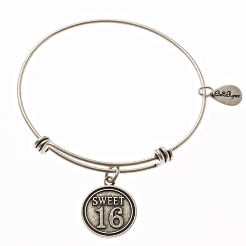 Sweet 16 Expandable Bangle Charm Bracelet in Silver
