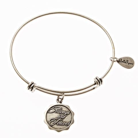 Always and Forever Expandable Bangle Charm Bracelet in Silver - BellaRyann