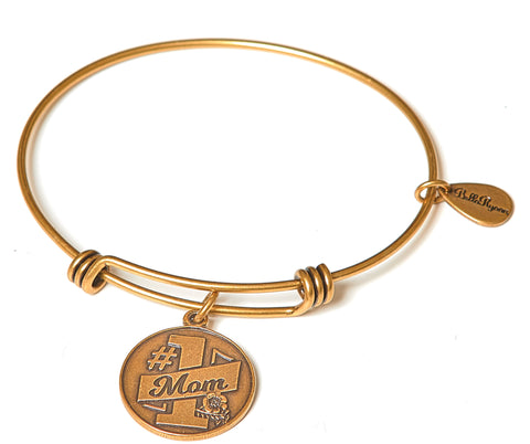 #1 Mom Expandable Bangle Charm Bracelet in Gold - BellaRyann