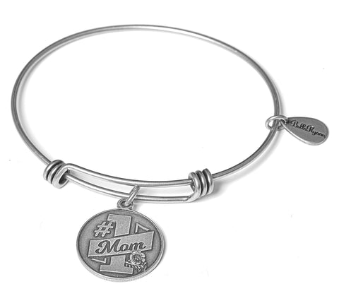 #1 Mom Expandable Bangle Charm Bracelet in Silver - BellaRyann