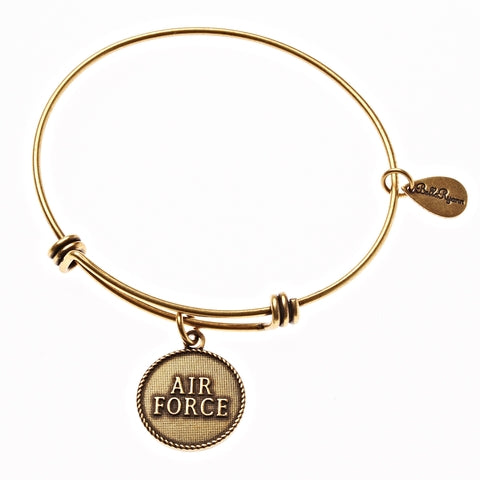 Air Force Expandable Bangle Charm Bracelet in Gold - BellaRyann