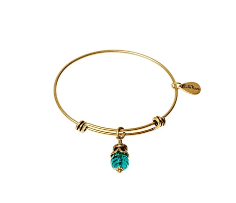 June Expandable Bangle Charm Bracelet in Gold - BellaRyann