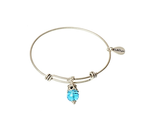 March Expandable Bangle Charm Bracelet in Silver