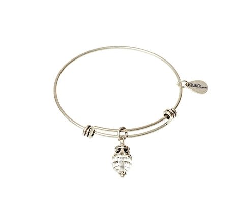April Birthstone Expandable Bangle Charm Bracelet in Silver - BellaRyann