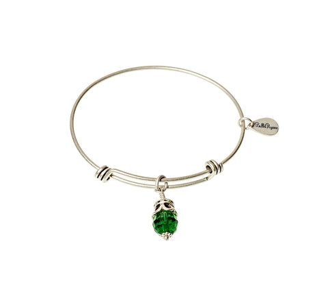 May Expandable Bangle Charm Bracelet in Silver