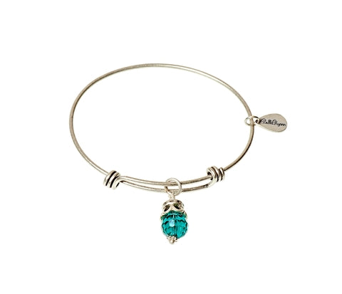 June Expandable Bangle Charm Bracelet in Silver - BellaRyann