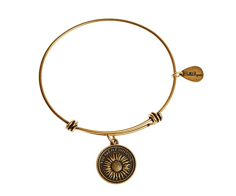 You Are My Sunshine Expandable Bangle Charm Bracelet in Gold