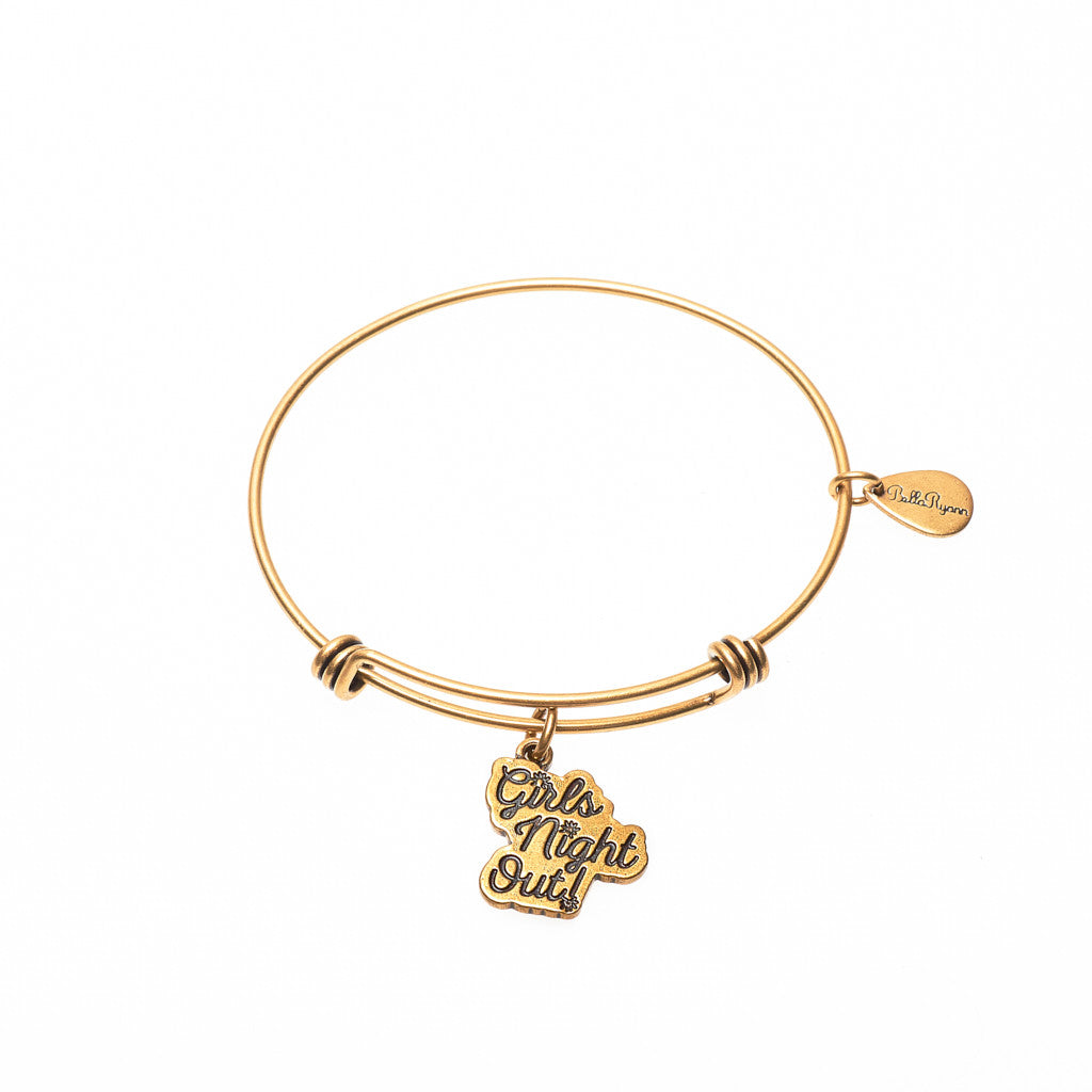 Girls Night Out Expandable Bangle Charm Bracelet in Gold - BellaRyann