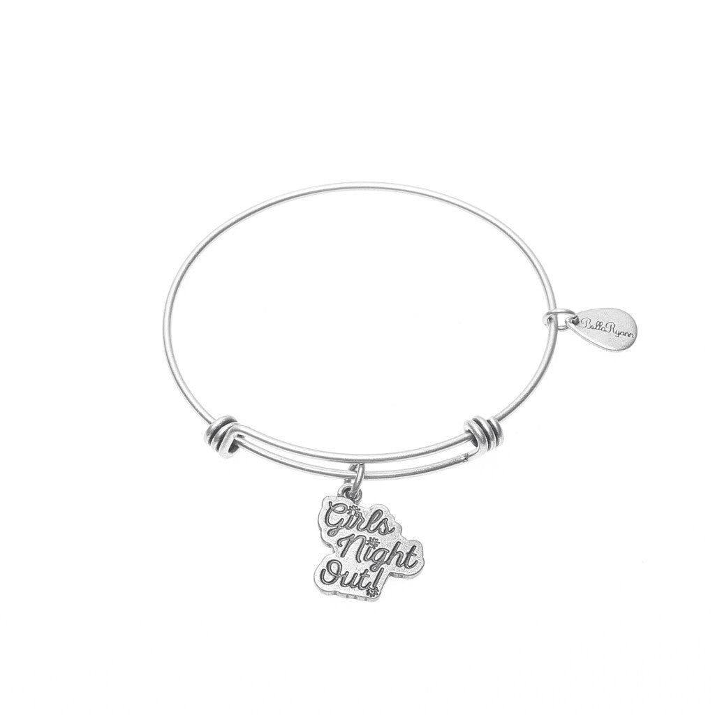 Girls Night Out Expandable Bangle Charm Bracelet in Silver - BellaRyann