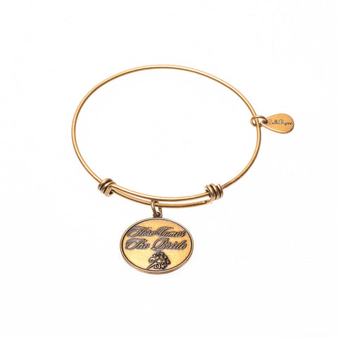 Here Comes The Bride Expandable Bangle Charm Bracelet in Gold - BellaRyann
