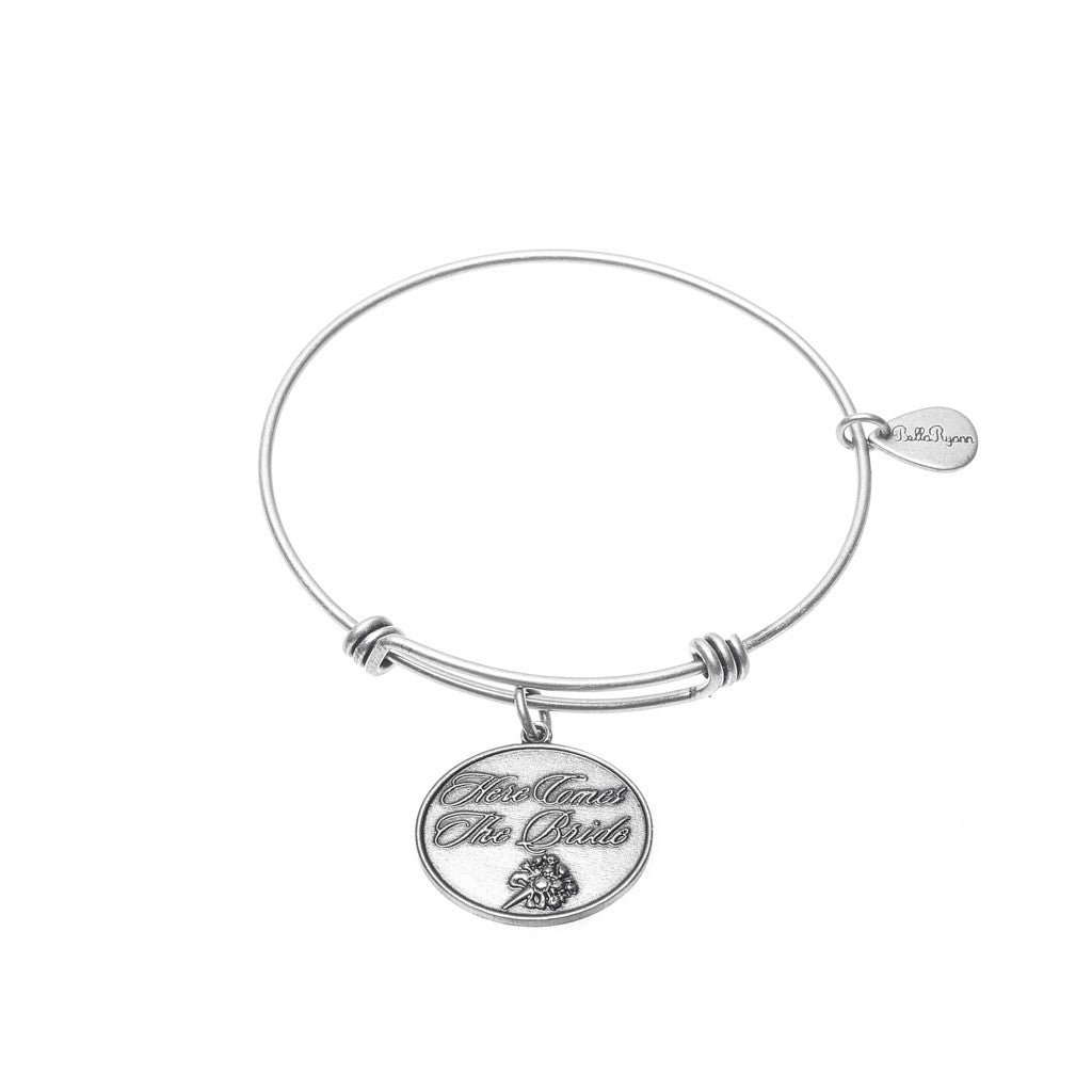Here Comes The Bride Expandable Bangle Charm Bracelet in Silver - BellaRyann
