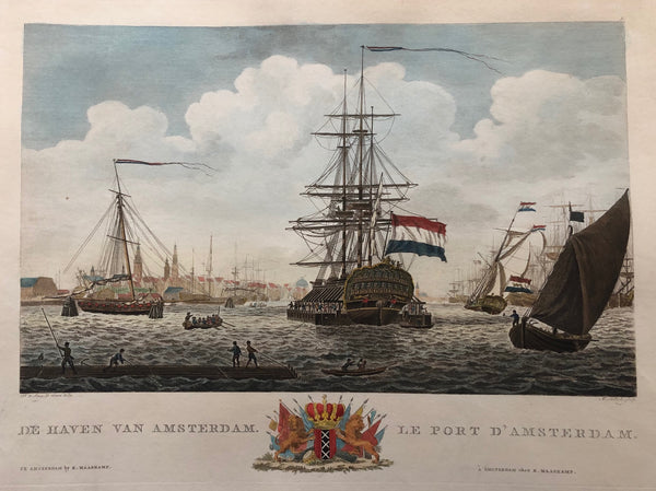 amsterdam, engraving, old print, harbour, ships, sailing, IJ, Y, profile, city, sallieth, maaskamp, colour, antique print, port