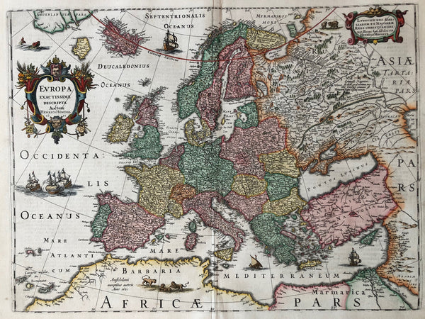 Europa Exactissime Descripta Actore Henrico Hondio 1631'. Very nice, decorative map of Europe, published by Henricus Hondius in 1631