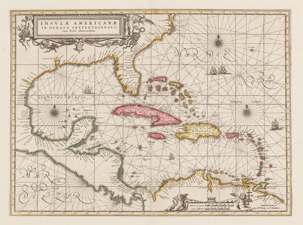 America, Caribbean, west indies, mexico, cuba, valk, schenk, gerritsz, florida, jamaica, bonaire, curacao,south america, central america, map, chart, old map, antique map, engraving, colour