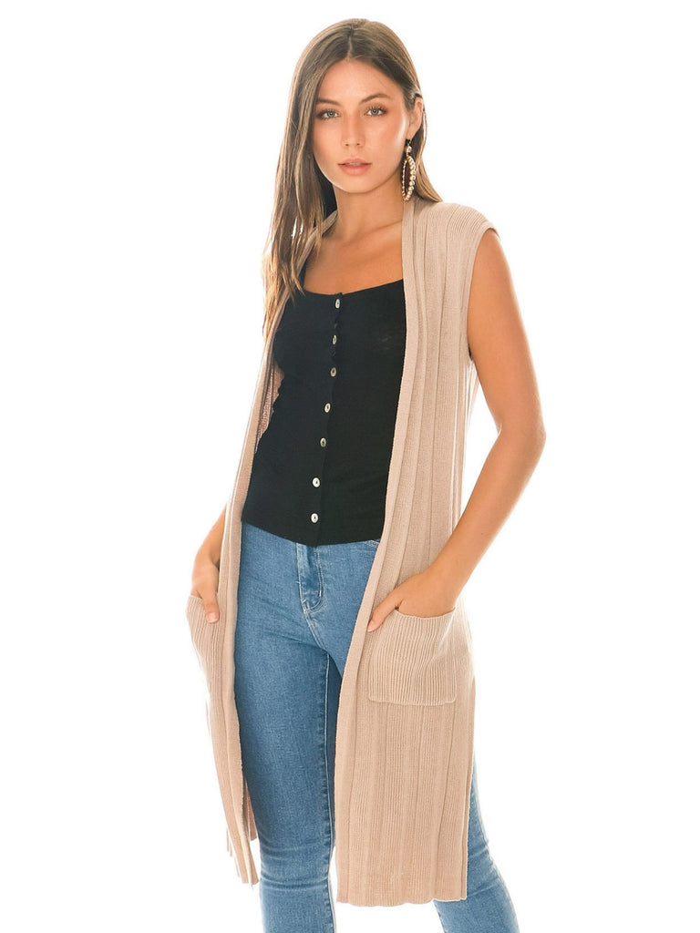 Women wearing a cardigan rental from BB Dakota called Jessie Jumpsuit