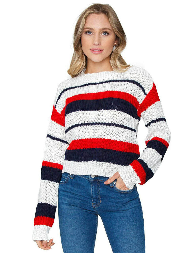 Woman wearing a sweater rental from MINKPINK called Lucia Off Shoulder Top