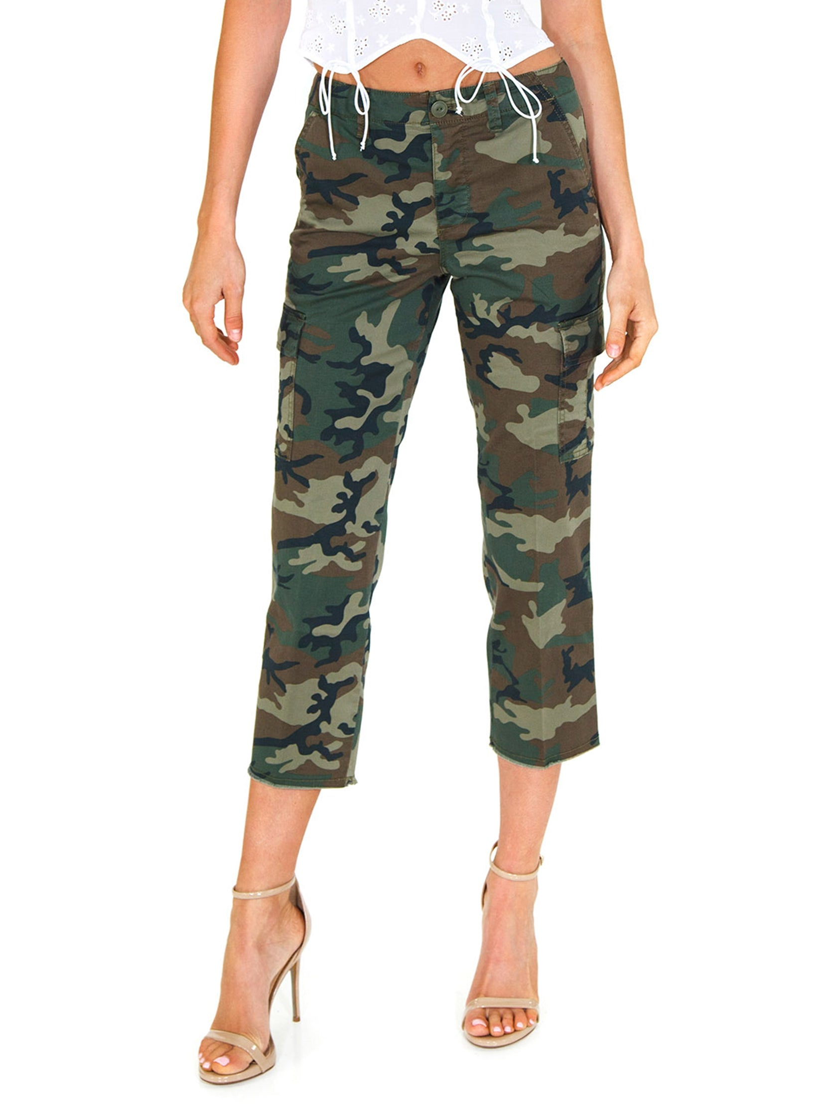 Woman wearing a pants rental from SANCTUARY called Combat Crop Pants
