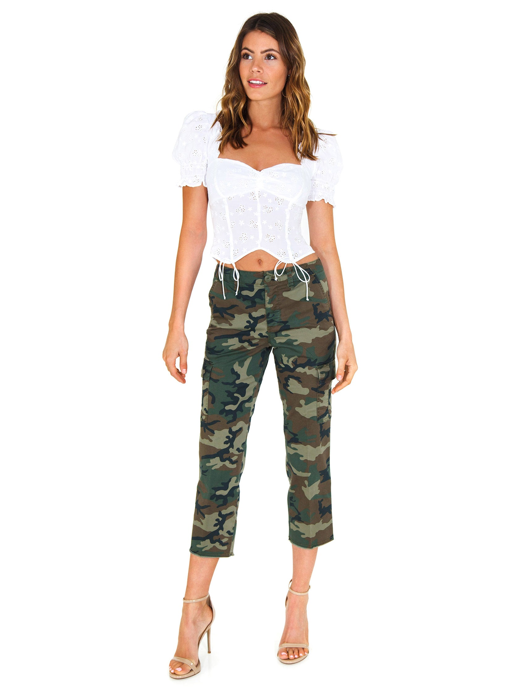 Girl wearing a pants rental from SANCTUARY called Combat Crop Pants