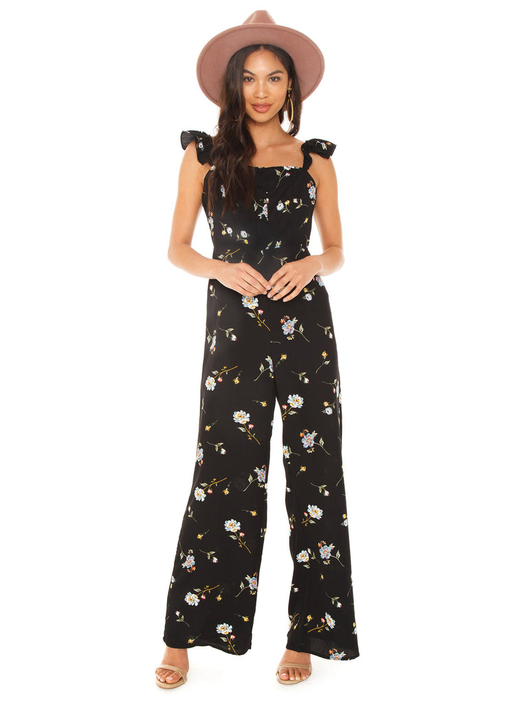 Girl outfit in a jumpsuit rental from Line & Dot called Oak Halter Dress