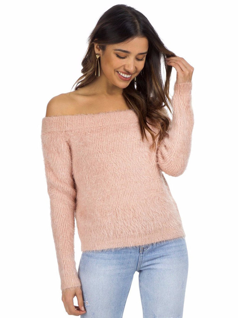 Women outfit in a sweater rental from MINKPINK called Lucia Off Shoulder Top