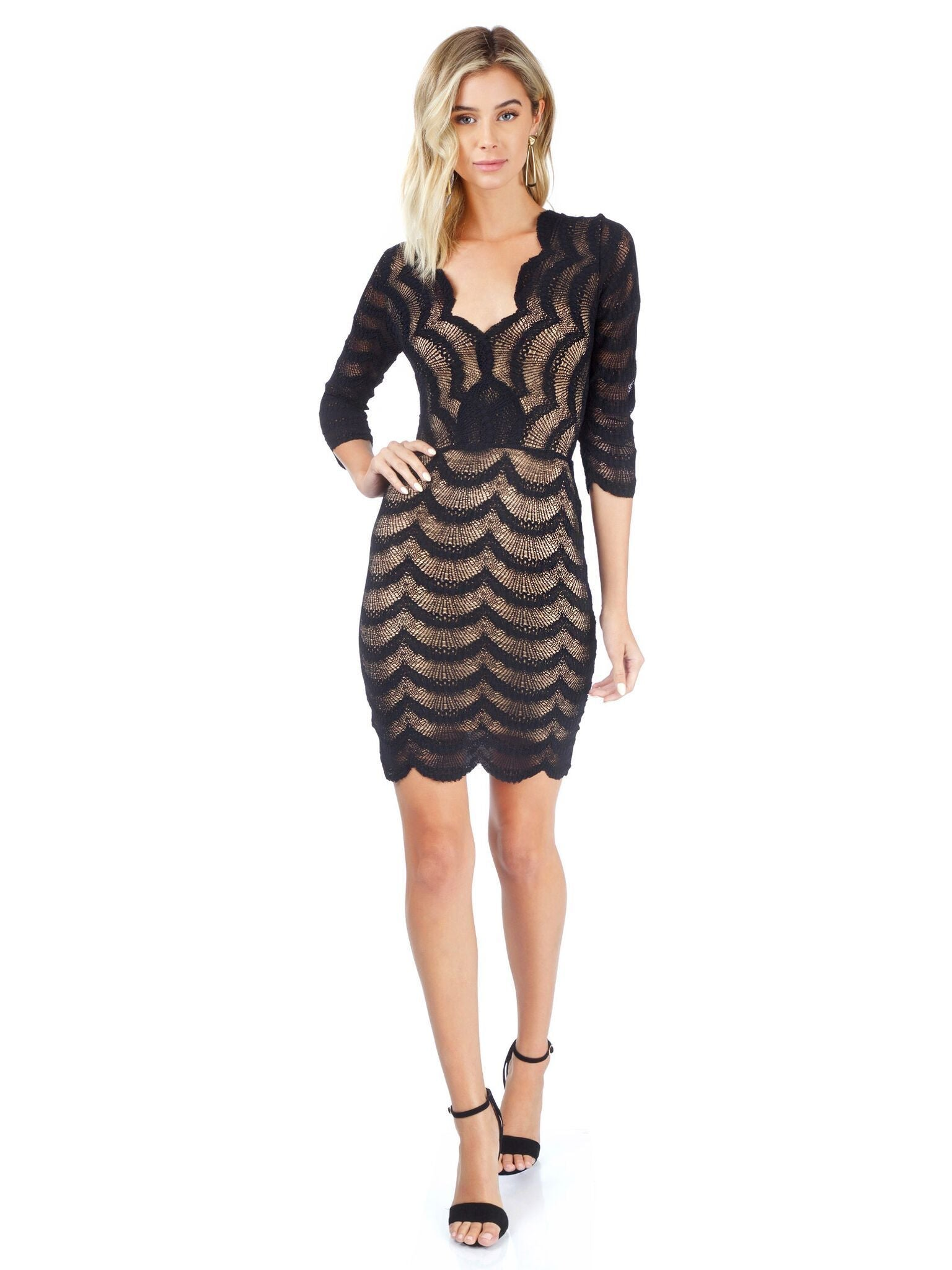 Girl outfit in a dress rental from Nightcap Clothing called Fiesta Fan Lace Deep V Dress