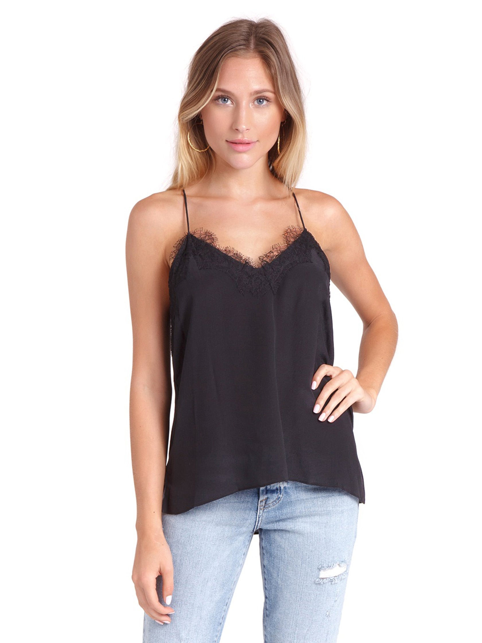 Woman wearing a cami rental from Cami NYC called The Racer Cami