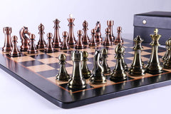 "4 1/4"" Metallic Style Pieces on Bird's Eye Maple Board - Chess Set - Chess-House"