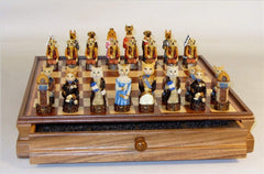 Cats Vs. Dogs Chess Set with Walnut Maple Chest Chess Set