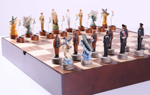 Pearl Harbor Chess Pieces on Walnut and Maple Chest - Chess Set - Chess-House