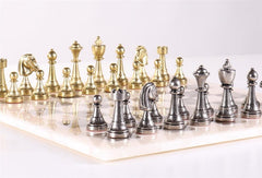 Staunton Metal Chess Men on Grey Alabaster Board - Set - Chess-House