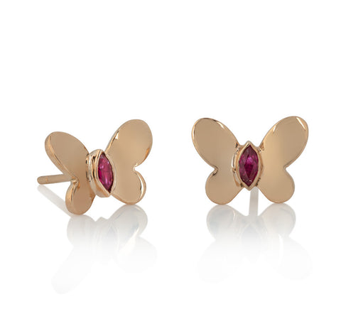 Butterfly stud earrings with ruby