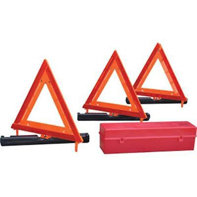 Safety-Emergency-Caution-Distress Warning Triangle Triple Kit w/Storage Box! NEW