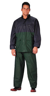 Rothco 2-Piece Navy Blue & Green PVC Rainsuit Size SMALL - Item S3660