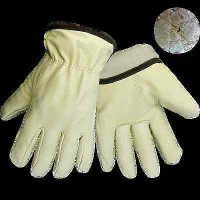 (Dozen) Global Glove, Lined Pig Leather Gloves, Cold Keep Insulation