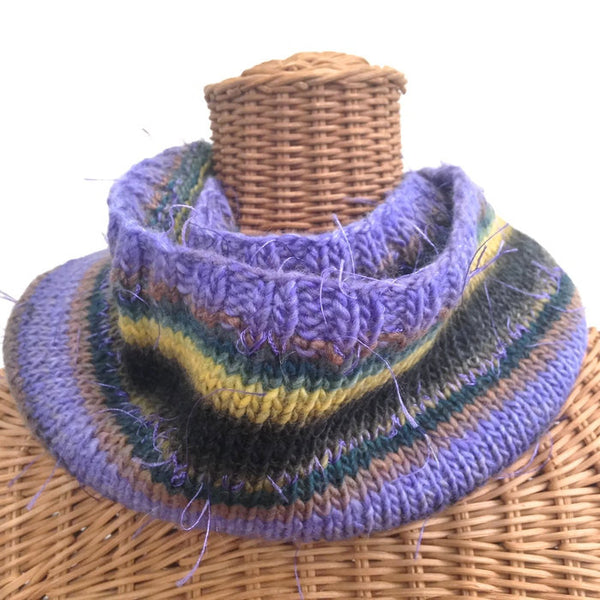 Infinity Striped Scarf Wool Violet Brown Green - Buttermilk Cottage - 2